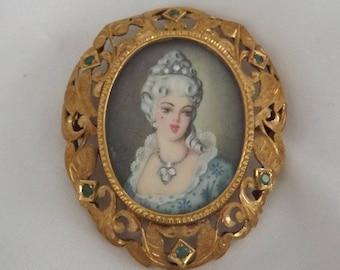 Marie Antoinette 14k Yellow Gold Diamond & Emerald  Portrait Pendant Brooch-On Sale Now!