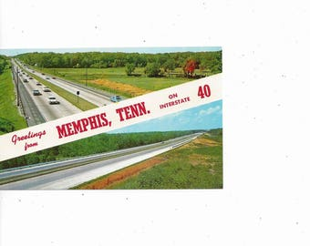 1960s Memphis I-40 Postcard, Tennessee, Unposted, Vintage Ephemera, Travel Souvenir, Greetings from, Banner, Curteichcolor