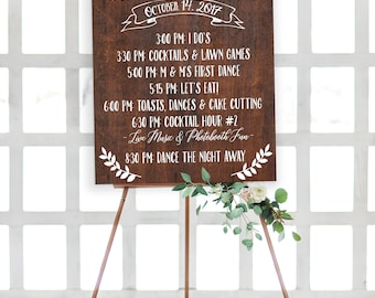 Order of Events Rustic Wedding Sign - Rustic Program of Events Wood Wedding Sign - Wedding Schedule - Wedding Timeline