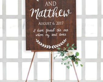 Rustic Wooden Wedding Welcome Sign • Couples Names and Wedding Date • Wedding Welcome Sign • I have found the one whom my soul loves Sign
