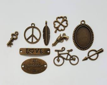 Set of 10 Charms - Planner Charms - Metal Gold Brass Pendants - Key Peace Feather Clover Gun Love Handmade Bike Arrow