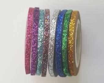 Glitter Washi Tape - 8 pcs Glitter Tape - Pink Purple Blue Silver Green Gold - Thin Masking Deco Tape - Glitter Nail Striping Tape Line