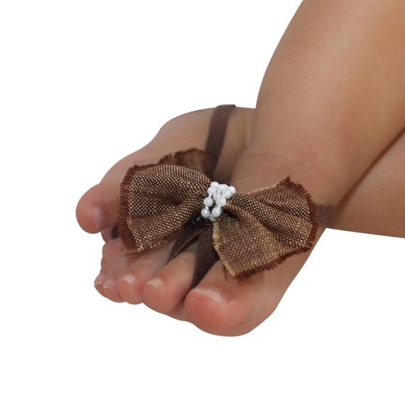 Brown Bow Sandals, Baby Sandals, Barefoot Sandals, Bow Sandals, Infant Sandals, Crib Sandals