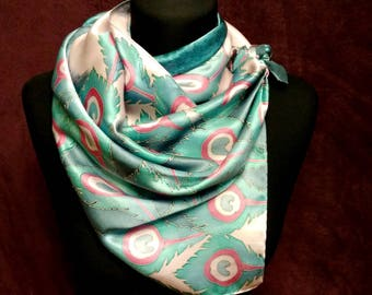 "Hand painted Silk scarf ""Peacock feathers"""