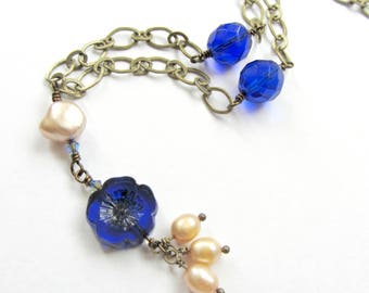 Cobalt Blue and Gold Pearl Pendant Drop Necklace, Blue Flower Necklace, Boho Blue Beaded Pearl Necklace
