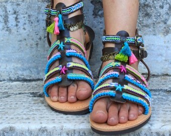 "Gladiator Sandals, Greek Leather Sandals, Boho sandals, Strappy sandals, pom pom sandals, colorful hippie sandals, Spartan sandals, ""Iris"""