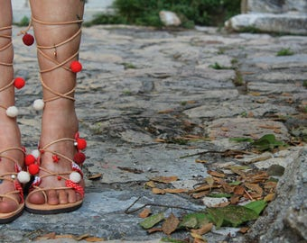 Tie up Gladiator Sandals, Greek Leather Boho Sandals, pom pom sandals, strawberry cherries sandals, red white sandals, hippie ethnic sandals