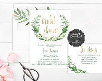 Printable Wreath Bridal Shower Invitation Template | Greenery Wreath Invitation | Instant Download | Botanical Bridal Shower | Leaf | Leaves