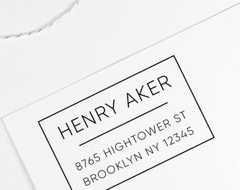 Return Address Stamp, fathers day gift, black self inking stamp, rubber stamp wood handle
