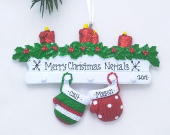 2 Mittens Ornament / Couple Personalized Christmas Ornament / Two Mittens on Mantel / Our First Christmas Ornament