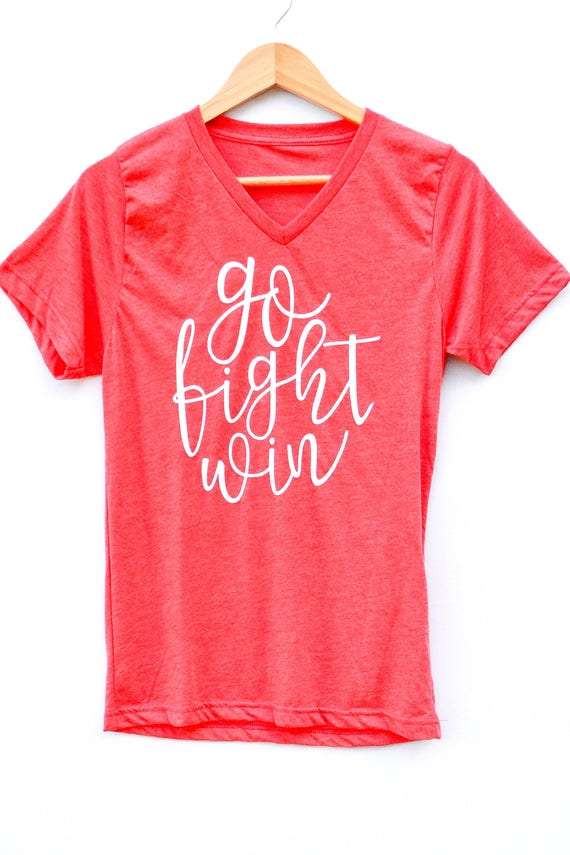 Go Fight Win V-neck Tee - red