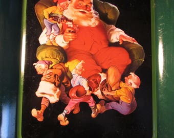 "A Classic Christmas, Metal Tray ""Enjoy Coca - Cola,"" Santa and The Elves Taking a Break !"