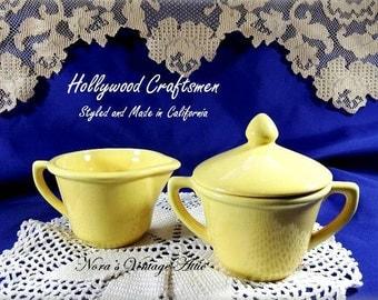 Vintage Hollywood Craftsmen in Yellow, Cream and Sugar Bowl Set