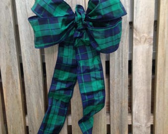 Pew Bow Black Watch Plaid gift bow, taffeta wreath, tartan decor,  package decoration, staircase, mantel,  pew bows, buffet table decor