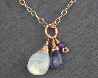 rose gold charm necklace, moonstone jewelry, amethyst necklace, iolite necklace, wire wrapped jewelry, tear drop necklace, pendant necklace