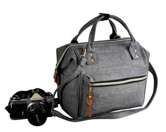 Digital SLR Camera Bag,  DSLR Camera Bag Purse, Unisex Camera Backpack. Stay Open While You Search