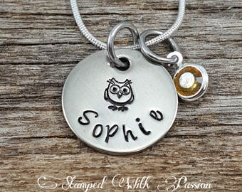 Personalized Owl Necklace with birtstone - Daughter necklace - kid necklace,  girl necklace, toddler necklace, little girl necklace