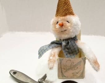Primitive  Plush Snowman Ornament, Ice Cream Carton, Collectible Snow Cream Doll, Winter Decor
