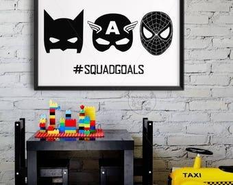 SquadGoals || #squadgoals, superhero print, marvel print, batman, captain america, spiderman, superheroes print, kids print, nursery poster