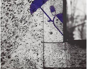 Street Art Graffiti Black and White Fine Art Photography Funny Graffiti Minimalist Drawing Urban Art Picture Man with the Umbrella Tiny Art