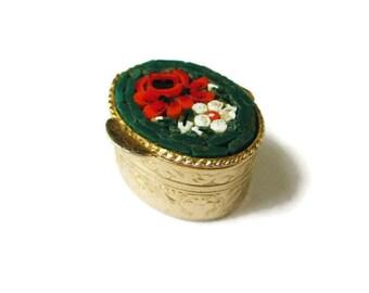 Italian Micro Mosaic Box /Green Oval MicroMosaic Snuff Box/ Micro Mosaic Trinket Box/ Micro Mosaic Pill Box/ Micro Mosaic Ring Box