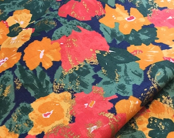 70s norweigan mod vintage fabric. Floral print Scandinavian design red green upholstery fabric flower pattern retro textile quilting fabric