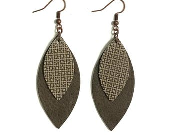 Large Leather Layered Leaf Earrings; Brown Leather; Lightweight; Statement Earrings