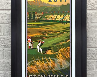 The US Open 2017, Erin Hills, Erin WI art golf gift sports poster print painting
