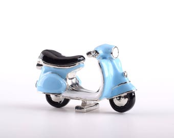 Blue Vespa Decorated with Swarovski Crystals Trinket Box by Keren Kopal Faberge Style Home Decor Unique Gift