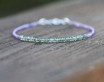 Natural Green Sapphire and Amethyst Bracelet in Solid 14K White Gold , February September Birthstones , 5th 6th 45th Anniversary