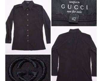 "GUCCI Uniform Women's Black Button up with Crossing ""GG"" Embroidery"