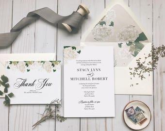 Neutral White and Cream Floral Wedding Invitation