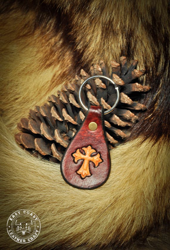 Leather Keychain Fob - Cross