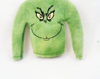 Green Mean One Elf Shirt - Doll Accessory - Holiday Mean One Shirt - Elf Accessory - Christmas Decor - Holiday Elf Prop - Shelf Doll Props
