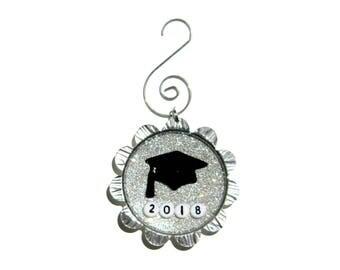 NEW Petal Cap Ornament - Graduation Cap with Custom Year on Silver Glitter