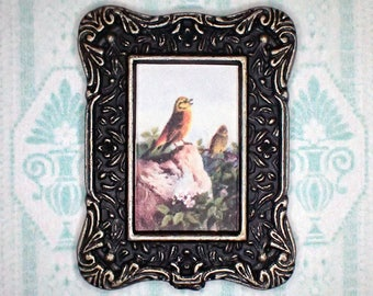 Miniature 1:12 Dollhouse Painting - Archibald Thorburn - A Pair of Yellowhammers