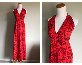 Vintage Red Hawaiian Halter Dress Hibiscus Flower Ruby Gold Tropical Summer Floral Maxi Dress Long Red Cotton Tiki Luau Dress Size Medium