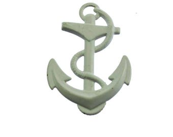 White Enamel Anchor Brooch, White Anchor Brooch, White Anchor Enamel Pin, White Nautical Brooch