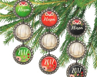 Girls volleyball ornament, personalized Christmas ornament, volleyball player gift for her, custom name and date. \