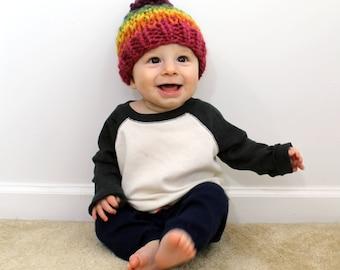 Baby Hat Rainbow Toddler Children's Knit Hat, Baby Knitted Pom- Little Ellicott Hat