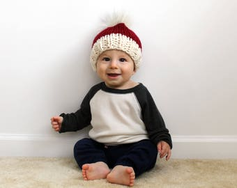 Santa Hat Children, Christmas Knit Hat Toddler, Chunky Knitted Baby Pom- Little Annapolis Hat