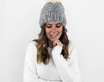 Knitted Hat, Pom Pom Beanie, Slouchy Knit Hat- Pokomoke Hat