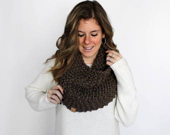 Outlander Scarf Knit Chunky Knitted Cowl Taupe- Potomac Cowl