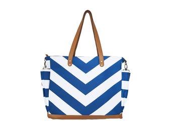 The Lynn Blue V Stripe Chevron Tote Bag