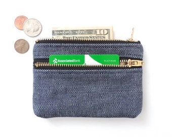Double Zipper Wallet Coin Purse Pouch Canvas Navy White