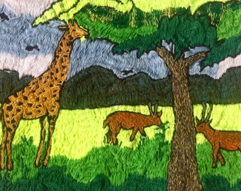 Giraffes and Antelopes Embroidered Wall Art - Handmade in Uganda