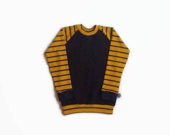 Cardigan women sweater collar round long sleeve black cotton, black striped mustard / Women's sweatshirt crewneck, black mustard stripes