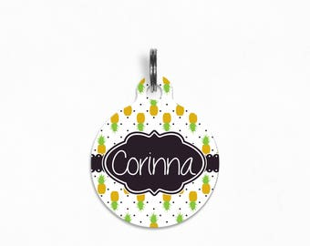 "Pet ID Tag | ""Corinna"" - Polka Dot Pineapple"