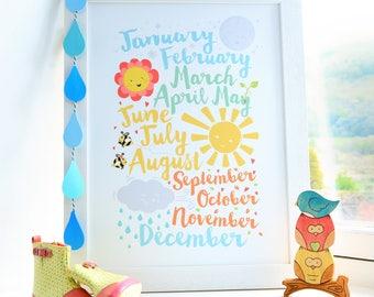 Months of the Year Nursery Print // Nursery Decor // Nursery Art // Educational Art // Kids Print // Kids Decor