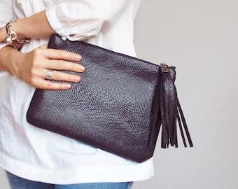 Leather clutch bag. Evening leather clutch. Leather tassel clutch. Structured leather clutch purse. Purple clutch purse.